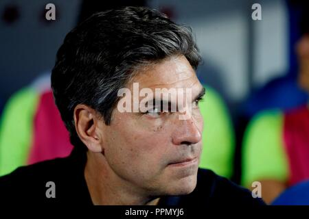 Leganes Cheftrainer Mauricio Pallegrino während der spanischen ersten Liga 6. Runde Match zwischen dem FC Barcelona und Genua an der Butarque Stadium, in Leganes, Gemeinschaft von Madrid, Spanien, 26. September 2018. EFE/JuanJo Martin - Stockfoto