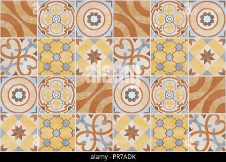 Farbenfrohe patchwork Muster Fliesen Hintergrund - Fliesen- Design, - Stockfoto