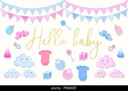 Satz von Elementen zum Geburtstag Karten für Neugeborene auf Baby dusche. Abbildung: für Jungen und Mädchen in blau und rosa Farbtönen auf einem hellen Hintergrund mit den in - Stockfoto