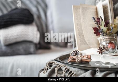 Die still life Details im Wohnzimmer. Herbst Zusammensetzung auf dem Hintergrund der gemütlichen Sofas und Pullover, das Konzept der Freizeitaktivitäten und im Herbst an den Wochenenden - Stockfoto