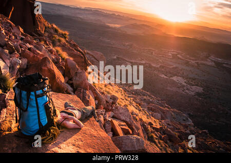 Kletterer, Wüste Türme, Indian Creek, Moab, Utah, USA - Stockfoto