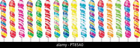 Vektor einrichten von bunten Spirale Lutscher auf weißem Hintergrund.eps 10 Abbildung - Stockfoto