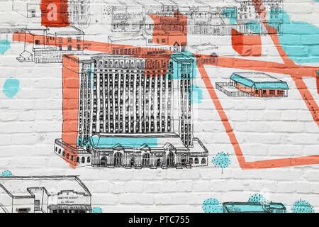 Darstellung der historischen Michigan Central Station, 1988 geschlossen, nun gekauft von der Ford Motor Company, die zur Restaurierung, in Corktown, Michigan, USA - Stockfoto