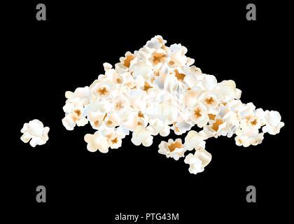 Popcorn Stapel auf schwarzen Hintergrund isoliert. Vector Illustration - Stockfoto