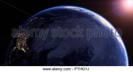 Der Arktis und der nördlichen Hemisphäre in der Nacht aus dem Weltraum - Stockfoto