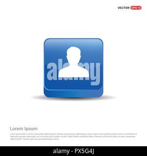 Symbol Benutzer - 3d-blauen Button. - Stockfoto