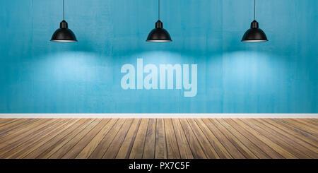 Zimmer mit drei Lampen, Beton blaue Wand und Holzböden, 3D-Darstellung. - Stockfoto