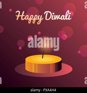 Brennende licht Unschärfe Hintergrund happy Diwali feier Vector Illustration - Stockfoto