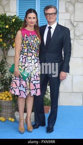 """Juli 16, 2018 - Livia Giuggioli und Colin Firth an 'Mamma Mia! Hier gehen wir wieder"""" - Weltpremiere, das Hammersmith Apollo in London, Großbritannien - Stockfoto"""