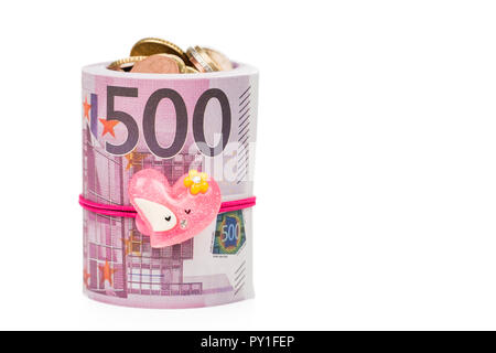Münzen papiergeld als Geschenk - Stockfoto