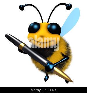 3D-Render eines lustigen Cartoon honey bee Charakter Schreiben mit einem Stift - Stockfoto