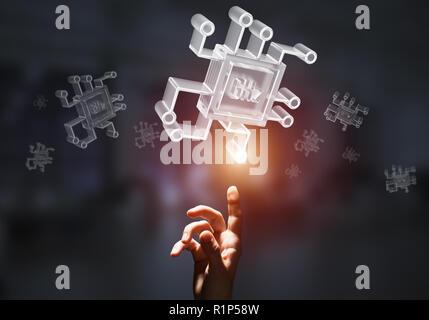 Computing und Innovation Konzept mit Chip-Symbol. Mixed Media - Stockfoto