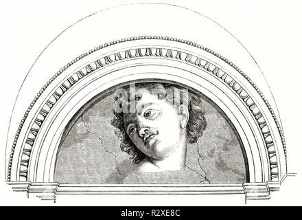 Malerei von B. Peruzzi (ursprünglich zu Michelangelo zugeschrieben) in Halle von Galatea, Villa Farnesina in Rom. Publ. Auf Magasin Pittoresque, Paris, 1846 - Stockfoto