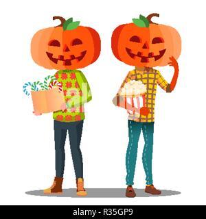 Junge, Mädchen mit einem Kürbis anstelle von Kopf und einen Korb mit Süßigkeiten in der Hand Vektor. Halloween isoliert Abbildung - Stockfoto