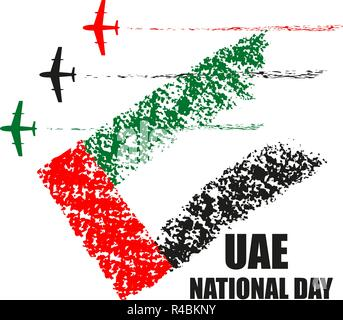 UAE nationalen Tag Plakat mit Flugzeugen der Kunstflug in der nationalen Flagge Farben Vector Illustration. - Stockfoto