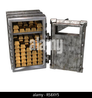 Alte Tresor öffnen mit Gold Bars auf einem weißen Hintergrund. 3D-Darstellung - Stockfoto