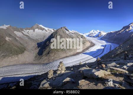 Schweiz, Wallis, Jungfrau Region, Aletschgletscher vom Mt. Eggishorn (UNESCO-Welterbe) - Stockfoto
