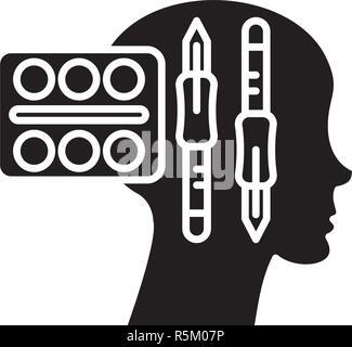 Design Thinking schwarze Symbol, Vektor Zeichen auf isolierten Hintergrund. Design Thinking Konzept Symbol, Abbildung - Stockfoto