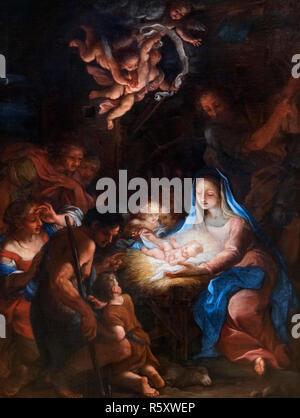 Die Anbetung der Schäfer von Giuseppe Bartolomeo Chiari (1654-1727), Öl auf Leinwand. Krippe. - Stockfoto