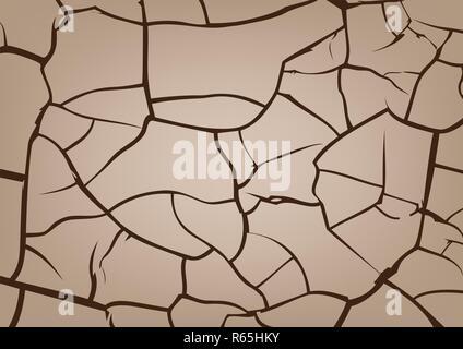 Rissige Erde Hintergrund, Vektor Textur - Stockfoto