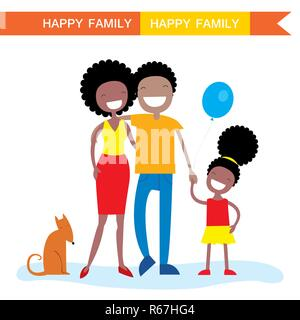 Happy African American Family Mitglieder Eltern, ihre Tochter und einen Hund. Schöne Zeichentrickfiguren. Vector Illustration - Stockfoto