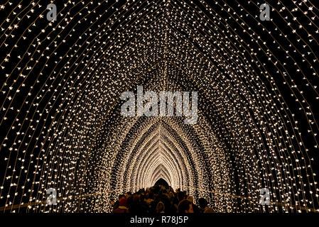 Kew Gardens, London - Dezember 6 2018 Kathedrale des Lichts für Weihnachten - Stockfoto