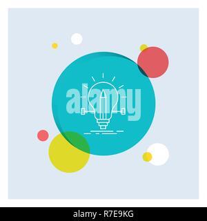 Glühlampe, kreativ, Lösung, Licht, Bleistift weiß Symbol Leitung Bunter Kreis Hintergrund - Stockfoto
