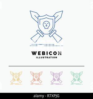 Abzeichen, Emblem, Spiel, Schild, Schwerter 5 Color Line Web Icon Vorlage auf Weiß isoliert. Vector Illustration - Stockfoto