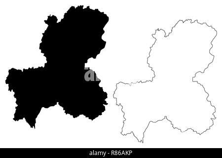 Präfektur Gifu (administrative divisions von Japan, Präfekturen Japans) Karte Vektor-illustration, kritzeln Skizze Gifu Karte - Stockfoto