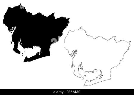 Präfektur Aichi (administrative divisions von Japan, Präfekturen Japans) Karte Vektor-illustration, kritzeln Skizze Aichi Karte - Stockfoto