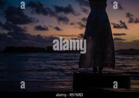 Schöne Mädchen zu Fuß am Strand bei Sonnenuntergang, Freiheit Konzept - Stockfoto