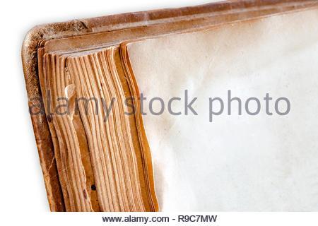 Altes verstaubtes, vergilbtes und Jahrzehnte altes leeres Buch - Stockfoto