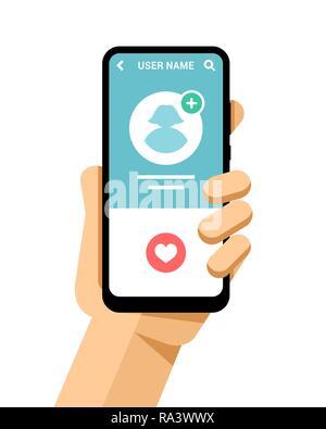 """Hand hält das Smartphone mockup mit Mädchen Foto und """"Gefällt mir""""-Schaltfläche. Flache Vektor moderne Telefon Mock-up Abbildung: - Stockfoto"""