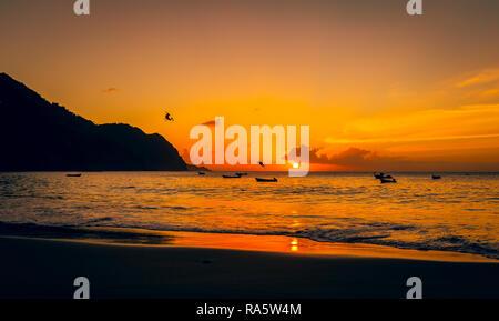 Tobago, West Indies, Karibik. Schönen Sonnenuntergang über dem Meer im Fischerdorf Castara mit Seevögeln und pelikanen Tauchen in den Ozean. - Stockfoto
