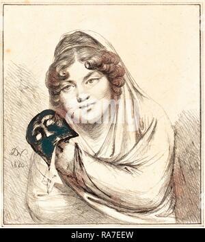 Baron Dominique Vivant Denon, Französisch (1747-1825), Mädchen mit einer Maske, 1820, Lithographie. Neuerfundene durch Gibon. Klassische neuerfundene - Stockfoto