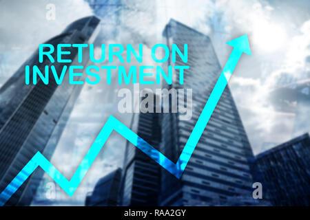 ROI - Return on Investment. Aktienhandel und finanzielles Wachstum Konzept auf unscharfen Business center Hintergrund. - Stockfoto