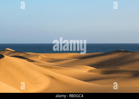 Lange Schatten auf Cascading Sanddünen in der Wüste mit Blick auf das Meer/See bei Sonnenuntergang (Dunas de Maspalomas, Gran Canaria, Spanien, Europa) - Stockfoto