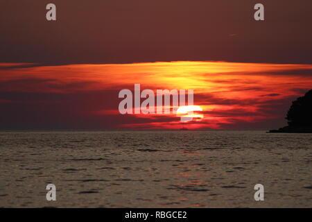 Sonnenuntergang auf der Insel Hvar in Kroatien - Stockfoto