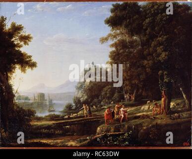 Landschaft mit Apoll und Marsyas. Museum: Staat A Puschkin-Museum für bildende Künste, Moskau. Autor: LORRAIN, Claude. - Stockfoto