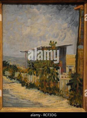 Am Montmartre Schuppen mit Sonnenblume. Museum: Bildende Kunst Museen von San Francisco. Autor: Van Gogh, Vincent. - Stockfoto