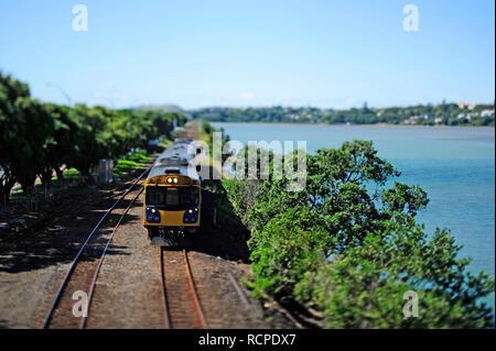 Tilt Shift mini Spielzeug suchen Zug und Eisenbahn - Stockfoto