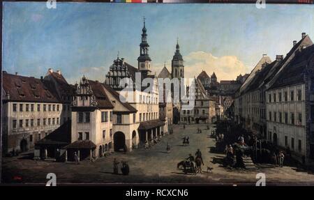 Der Marktplatz in Pirna. Museum: Staat A Puschkin-Museum für bildende Künste, Moskau. Autor: BELLOTTO, Bernardo. - Stockfoto