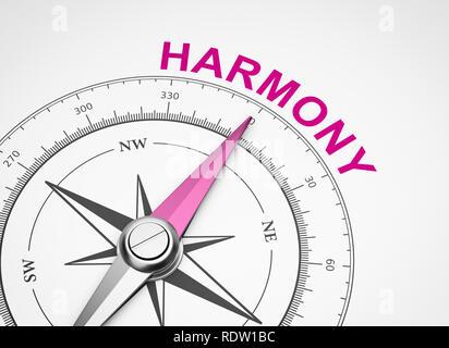 Magnetischer Kompass mit Nadel nach Lila Harmony Wort auf weißem Hintergrund 3D Illustration - Stockfoto