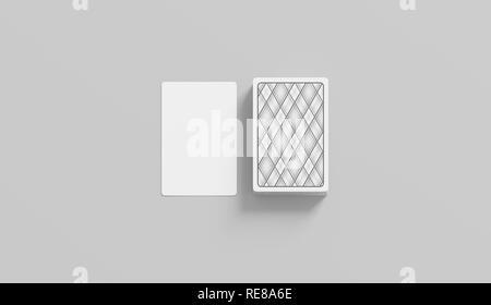 Leere weiße Karte mit Deck mockup Stack, isoliert, 3D-Rendering. Leere Gesicht und Shirt Spiel Karten mock up, Vorderansicht. Gefahr und Risiko in Schwarz - Stockfoto