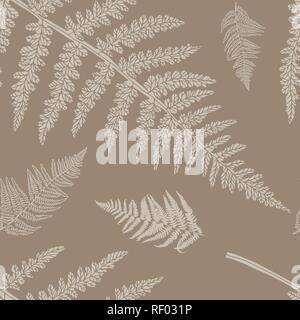 Nahtlose florales Muster mit Farnen. Vektor Silhouetten in Braun und Beige. Endlose Textur für Mode, Textil, Hintergründe und druckt. - Stockfoto