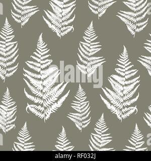 Nahtlose florales Muster mit Farnen. Vektor Silhouetten in grauen und weißen Farben. Endlose Textur für Mode, Textil, Hintergründe und druckt. - Stockfoto