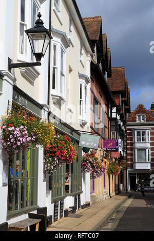 St. Thomas Street, Winchester, Hampshire, England, Vereinigtes Königreich, Europa - Stockfoto