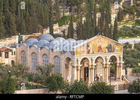 Kirche aller Nationen (Kirche der Agonie) (Basilika der Qualen), Ölberg, Jerusalem, Israel, Naher Osten - Stockfoto
