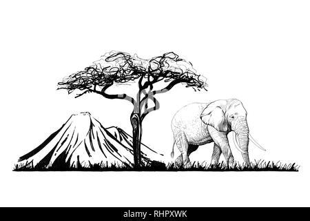 Elefanten in der Nähe von einem Baum auf den Hintergrund. Hand gezeichnet Abbildung. Sammlung von Hand Illustrationen gezeichnet (Originale, keine tastung) - Stockfoto