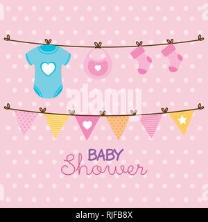 Baby Karte Dusche mit set Items - Stockfoto